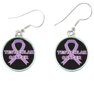 Testicular Cancer Awareness Red Ribbon Earrings